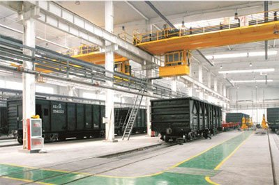 The manufacturing plant of open goods wagons.